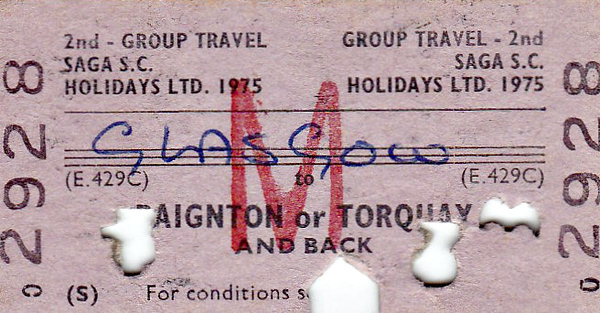 BR EDMONDSON TICKET - GLASGOW - Second Class Group Return to Paignton or Torquay, on behalf of Saga Holidays, dated April 21st, 1975. It was certainly well checked!