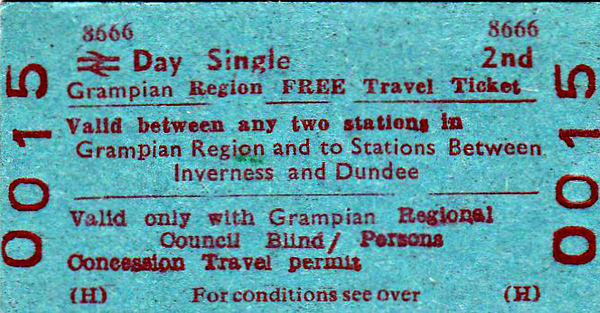 BR EDMONDSON TICKET - GRAMPIAN REGION FREE TRAVEL TICKET - Valid between any two stations in the Region and between Inverness and Dundee for passengers with sight problems.