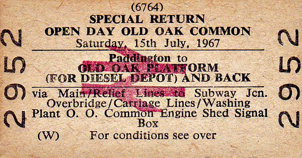 BR EDMONDSON TICKET - OLD OAK COMMON DIESEL DEPOT OPEN DAY - Paddington to the specially built platform for Open Day, July 15th, 1967. This was very early days for BR Open Days and so not very much was specially laid on except for a few  prepared locos (D859, D1060, D6332, D6354) and a Blue Pullman set plus whatever else happened to be there.