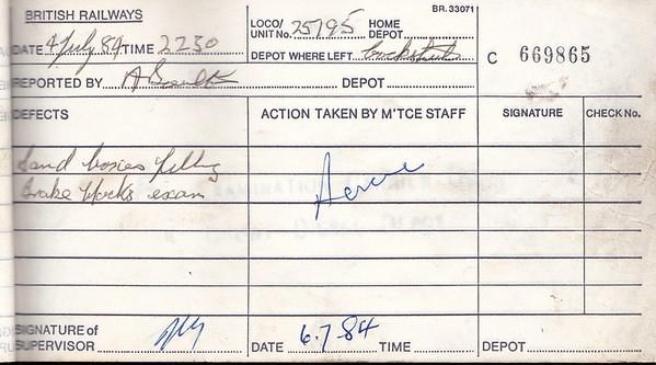 DIESEL LOCOMOTIVE REPAIR BOOK - 25195 - No.669865 - Reported at Cockshute on July 4th, 1984 - 'Sand boxes filling. Brake blocks exam.'