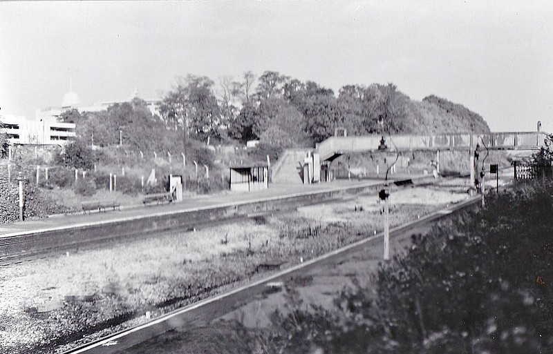 WEMBLEY HILL - The station opened in March 1906 as part of the Great Central Railway's London Extension. Originally hosting 4 tracks, this view shows the station after 'modernisation' in the late 1960's. In February 1978, following closure of Wembley Stadium Station, the station was renamed Wembley Complex, now being the nearest to the stadium facilities. In my 1987, it was again renamed, this time to Wembley Stadium. The station boasts a service of two trains per hour each way, to Marylebone and Gerards Cross/High Wycombe respectively and handles 750,000 passengers per year plus a great many special trains in conjunction with sports events.