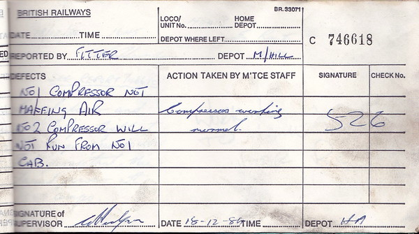DIESEL LOCOMOTIVE REPAIR BOOK - 40013 - No.746618 - Reported at Millerhill Diesel Depot on December 18th, 1984 - 'No.1 conpressor not making air. No.2 compressor will not run from No.1 end.'