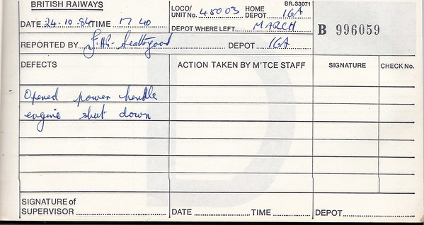 DIESEL LOCOMOTIVE REPAIR BOOK - 45003 - No.996059 - Reported at March on October 24th, 1984 - 'Opened power handle, engine shut down.'