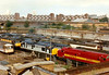 STEWARTS LANE LOCOMOTIVE DEPOT - the engine sidings at the Depot, with mainly Class 37 locos in view, 28/08/96. Note grounded Class 73 on the left.