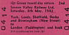 BR EDMONDSON TICKET - SEVERN VALLEY RAILWAY LTD GROUP TRAVEL - Not a special train but a block booking from York via Birmingham to Paddington and back on May 8th, 1982,