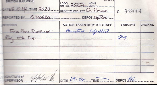DIESEL LOCOMOTIVE REPAIR BOOK - 25257 - No.669064 - Reported at Bescot on October 16th, 1984 - 'Fire bell does not ring No.2 end.'