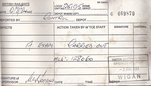 DIESEL LOCOMOTIVE REPAIR BOOK - 25195 - No.669870 - Reported at Wigan Springs Branch on August 2nd, 1984 - 'A Exam carried out. Miles 128060.'