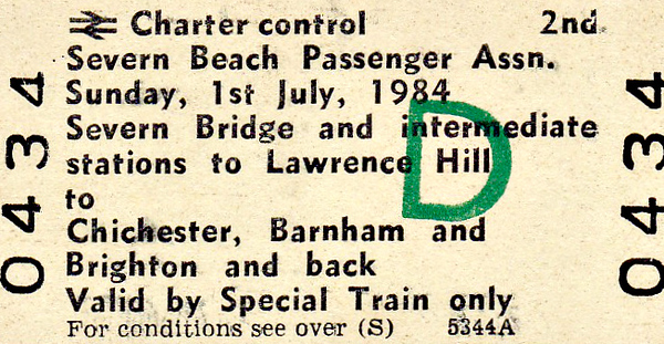 BR EDMONDSON TICKET - SEVERN BEACH PASSENGER ASSOCIATION - SEVERN BRIDGE to BRIGHTON - Run on July 1st, 1984, I guess that this train may have consisted of DMU stock.