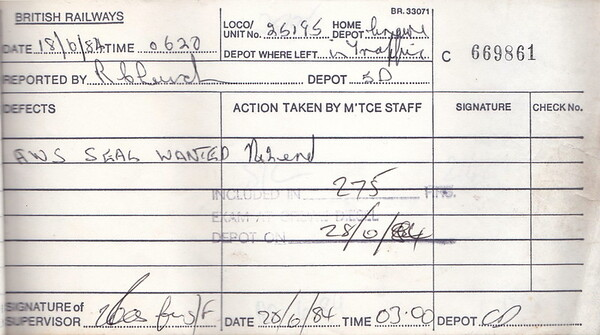 DIESEL LOCOMOTIVE REPAIR BOOK - 25195 - No.669861 - Reported at Stoke on June 18th, 1984 - 'AWS seal wanted.'