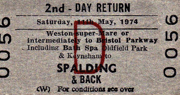 BR EDMONDSON TICKET - WESTON SUPER MARE/BRISTOL PARKWAY to SPALDING - Second Class Special Day Return to Spalding - May 11th, 1974, was Flower Parade Day in Spalding, which attracted specials from all over the country at that time.