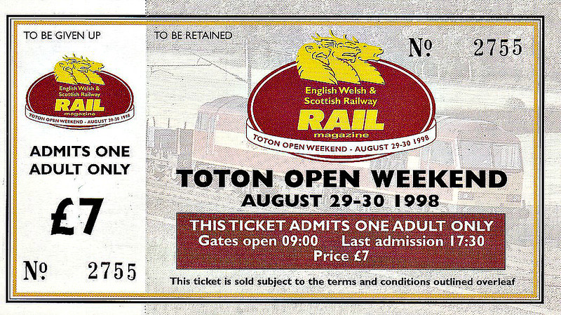 TOTON EWS OPEN WEEKEND - August Bank Holiday Weekend 1998 - What a great day out! I took my grandson who was 4 and met up with brother and his son from Middlesbrough and we spent the whole day touring round. I'm not normally much into this sort of thing, enjoying railways for the solitude they offer me, but I was prepared to make an exception. My grandson loved it because we went all the way by train, including on one of the specials from Derby.