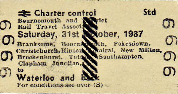 BR EDMONDSON TICKET - BOURNEMOUTH & DISTRICT RAIL TRAVEL ASSOCIATION - Standard Class Special Day Return to Waterloo, picking up and setting down at a multitude of intermediate stations, October 31st, 1987. Specimen ticket.