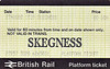 BR PLATFORM TICKET - SKEGNESS - 10 pence, dated August 27th, 1988. I had gone for a Summer Saturday expedition along the line to Skegness to get the loco-hauled SSO specials.