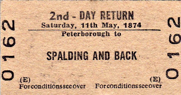 BR EDMONDSON TICKET - PETERBOROUGH - Second Class Day Return to Spalding - the date must be a misprint! May 11th was Flower Parade Day in 1974 so this may have been a ticket for a special train.