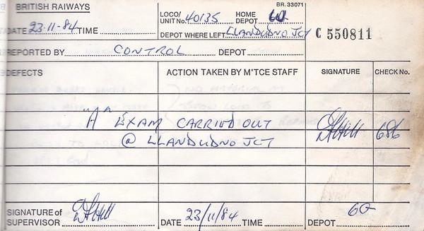 DIESEL LOCOMOTIVE REPAIR BOOK - 40135 - No.550811 - Reported at Llandudno Junction Diesel Depot on November 23rd, 1984 - 'A Exam carried out at Llandudno Junction.'