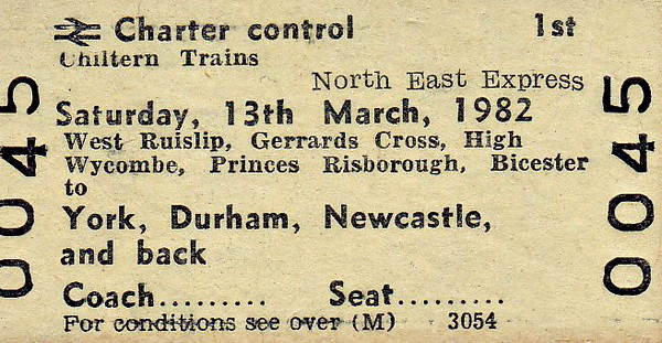 BR EDMONDSON TICKET - CHILTERN TRAINS - NORTH EAST EXPRESS - First Class Day Excursion from various Home Counties stations to York, Durham and Newcastle on Saturday, March 13th, 1982. I can find no evidence that this train actually ran.