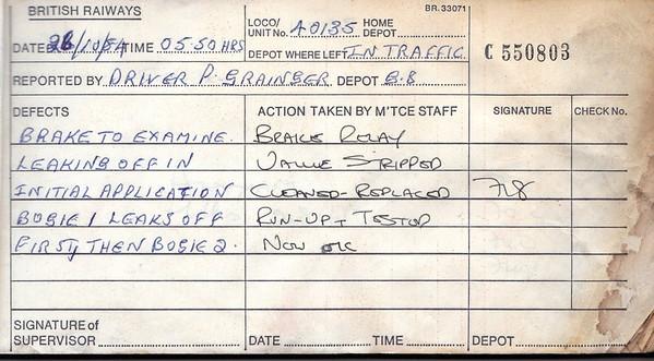 DIESEL LOCOMOTIVE REPAIR BOOK - 40135 - No.550803 - Reported at Wigen Springs Branch Diesel Depot on October 26th, 1984 - 'Brake to examine. Leaking off in initial application. Bogie 1 leaks off first, then bogie 2.'