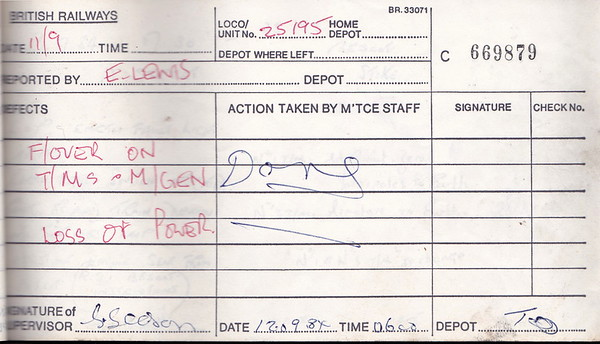 DIESEL LOCOMOTIVE REPAIR BOOK - 25195 - No.669879 - Reported at Toton on September 11th, 1984 - 'Flashover on T/M's and M/Gen. Loss of power.'