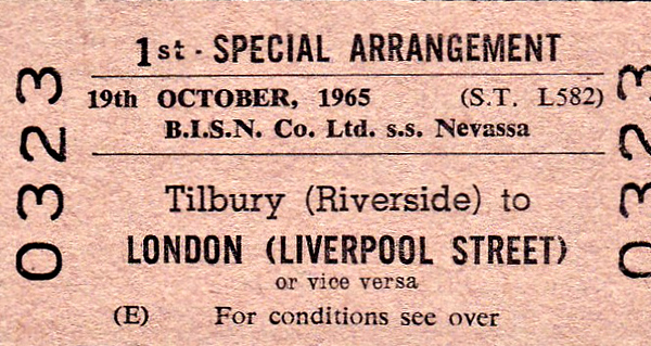 BR EDMONDSON TICKET - TILBUTY RIVERSIDE - First Class Single, by Special Arrangement, usable either to or from Liverpool Street. NEVASA (misspelt here) was built as a troop ship and later converted to an educational cruise ship, this cruise being the inaugural one. I suspect there was some sort of 'bunfight' at Tilbury for invited guests before she sailed and this may well be a ticket issued in connection with that event. I can't imagine that many of the subsequent youthful passengers travelled first class!