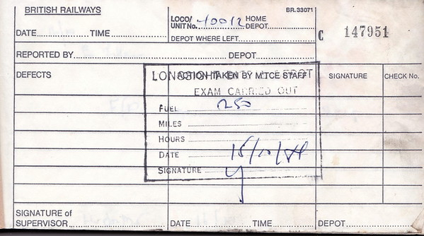 DIESEL LOCOMOTIVE REPAIR BOOK - 40012 - No.147951 - Reported at Longsight on October 15th, 1984 - 250 gallons of fuel added.