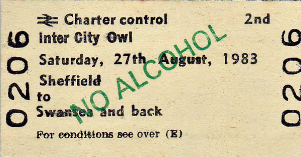 BR EDMONDSON TICKET - 'INTER CITY OWL' - SHEFFIELD to SWANSEA - Sheffield Wednesday played Swansea City on this day and won 1 - 0 so I should think the return journey was fairly high spirited! They later beat them 6 - 1 at home and finished 2nd in the table, earning promotion to the First Division.