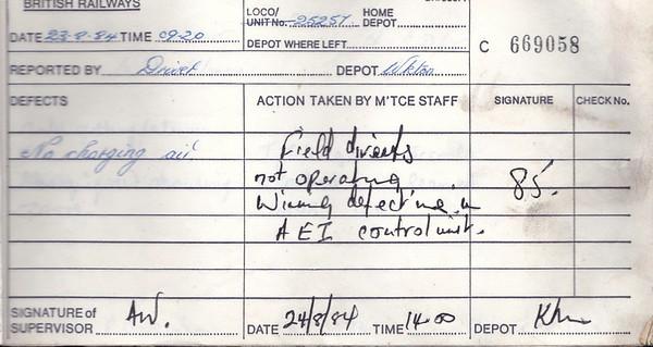 DIESEL LOCOMOTIVE REPAIR BOOK - 25257 - No.669058 - Reported at Carlisle Kingmoor on August 23rd, 1984 - 'No charging air.'