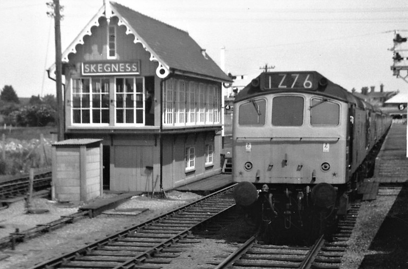 SKEGNESS - Right up until the late 1980's, the terminus at Skegness was virtually unchanged, as seen in this 1972 view of a Class 25 at the head of a returning SSO excursion to the Midlands. Unfortunately, in late 1980's, the line was 'modernised' (vandalised).