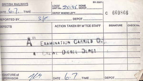 DIESEL LOCOMOTIVE REPAIR BOOK - 25195 - No.669866 - Reported at Crewe on July 7th, 1984 - 'A Examination carried out at Crewe Diesel Depot.'