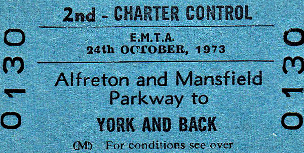 BR EDMONDSON TICKET - EAST MIDLANDS TRAVEL ASSOCIATES - ALFRETON & MANSFIELD PARKWAY - Second Class Day Excursion to York, October 24th, 1973. Alfreton Station had closed in January 1967 but re-opened in May 1973 as Alfreton & Mansfield Parkway, Mansfield then being the biggest town in Britain without a railway station. In 1995, Mansfield got a new station on the 'Robin Hood Line' and Alfreton became Alfreton again.