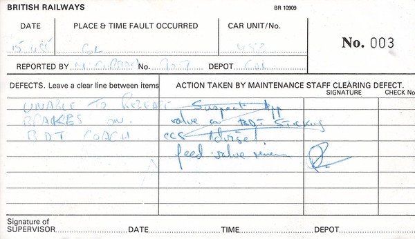ELECTRIC MULTIPLE UNIT REPAIR BOOK - 305 453 - No.003 - Reported at Colchester on April 15th, 1985 -'Unable to release brakes on BDT coach.'