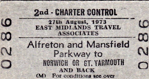 BR EDMONDSON TICKET - EAST MIDLANDS TRAVEL ASSOCIATES - Second Class Day Return from Alfreton & Mansfield Parkway to either Great Yarmouth or Norwich on August 27th, 1973.