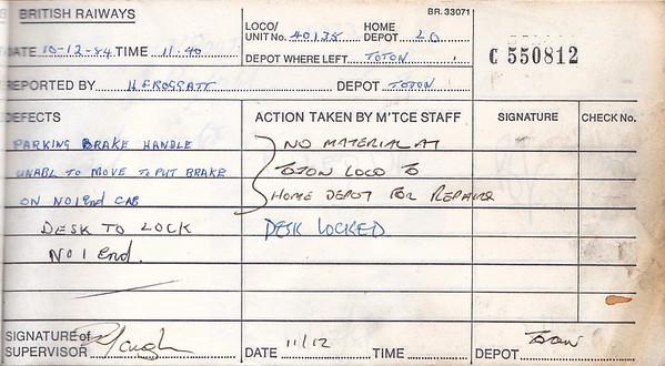 DIESEL LOCOMOTIVE REPAIR BOOK - 40135 - No.550812 - Reported at Toton Diesel Depot on December 10th, 1984 - 'Parking brake handle unable to move to put brake on No.1 end cab. Desk to lock No.1 end.'