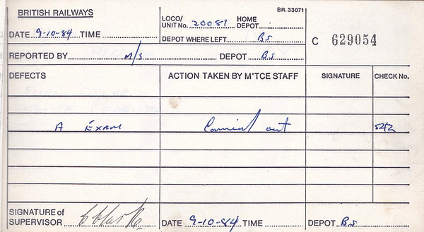 DIESEL LOCOMOTIVE REPAIR BOOK - 20081 - No.629054 - Reported at Bescot on October 9th, 1984 - 'A Exam.'