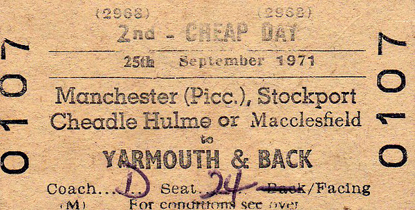 BR EDMONDSON TICKET - MANCHESTER PICCADILLY - Second Class Excursion also picking up at Stockport, Cheadle Hulme and Macclesfield to Yarmouth, September 25th, 1971.