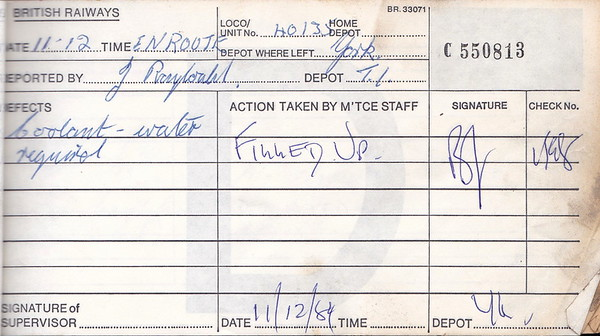 DIESEL LOCOMOTIVE REPAIR BOOK - 40135 - No.550813 - Reported at York Diesel Depot on December 11th, 1984 - 'Coolant water required.'