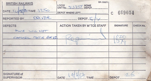DIESEL LOCOMOTIVE REPAIR BOOK - 25257 - No.669054 - Reported at Saltley on August 14th, 1984 - 'AWS will not cancel either end.'