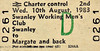 BR EDMONDSON TICKET - SWANLEY WORKING MEN'S CLUB - SWANLEY to MARGATE - Second Class Return dated August 10th, 1983, no doubt with reserved accommodation on a regular service train.