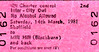 BR EDMONDSON TICKET - INTER-CITY OWL - SHEFFIELD WEDNESDAY versus BLACKBURN ROVERS, March 14th, 1981. This was a Division 2 fixture and Blackburn won 3 - 1. The destination station should be Mills Hill.