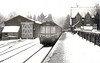 BUNTINGFORD - a 3-car suburban DMU sits in a snowbound Buntingford Station in January 1963. This was the terminus of a short branch from St Margarets and the line closed the following year.