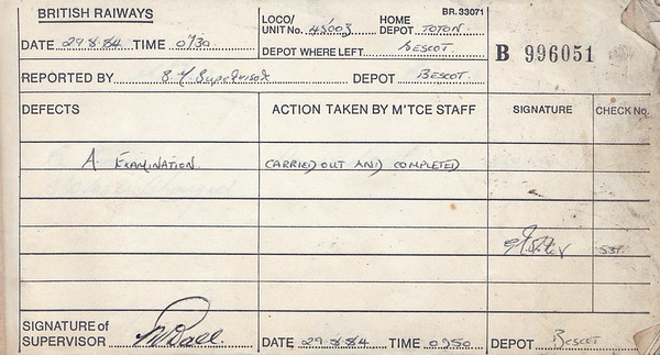 DIESEL LOCOMOTIVE REPAIR BOOK - 45003 - No.996051 - Reported at Bescot on August 29th, 1984 - 'A Examination.'