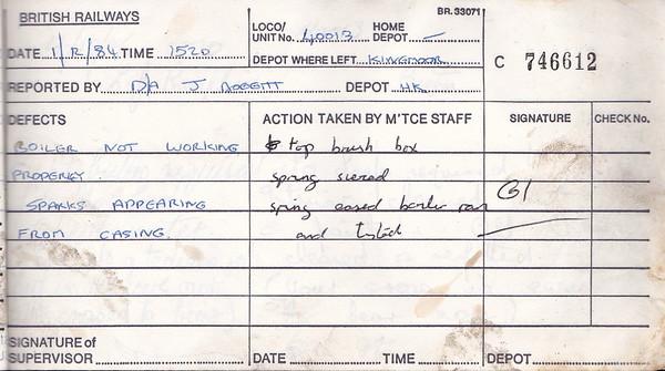 DIESEL LOCOMOTIVE REPAIR BOOK - 40013 - No.746612 - Reported at Carlisle Kingmoor Diesel Depot on December 1st, 1984 - 'Boiler not working properly. Sparks appearing from casing.'