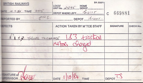 DIESEL LOCOMOTIVE REPAIR BOOK - 25195 - No.669881 - Reported at Bescot on September 14th, 1984 - 'Nos.1 & 3 t/motors to change.'