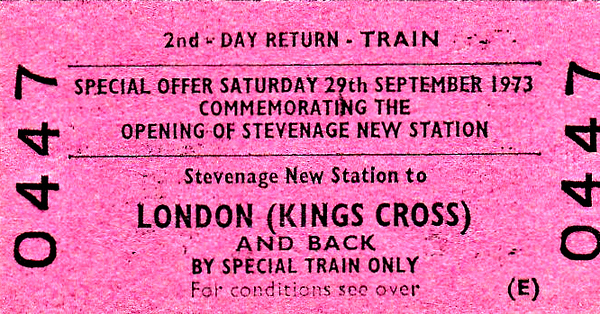 BR EDMONDSON TICKET - OPENING OF STEVENAGE NEW STATION - On September 29th, 1973, Shirley Williams, MP for Stevenage, opened the present station at Stevenage which was located within a few minutes walk of the town centre. Several special trains ran from Kings Cross for the ceremony.