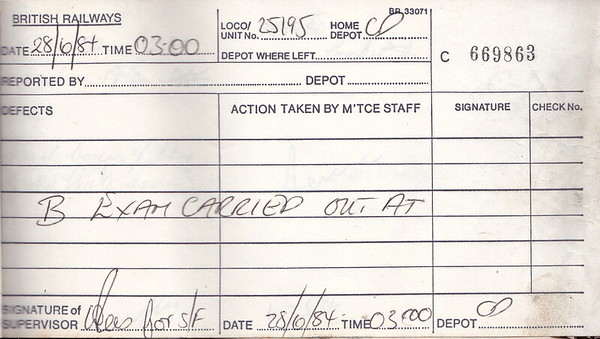 DIESEL LOCOMOTIVE REPAIR BOOK - 25195 - No.669863 - Reported at Crewe on June 28th, 1984 - 'B Exam carried out.'
