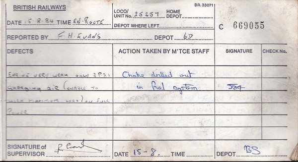 DIESEL LOCOMOTIVE REPAIR BOOK - 25257 - No.669055 - Reported at Bescot on August 15th, 1984 - 'Engine very weak only 3psi charging air (unable to work maximum load) on full power.'