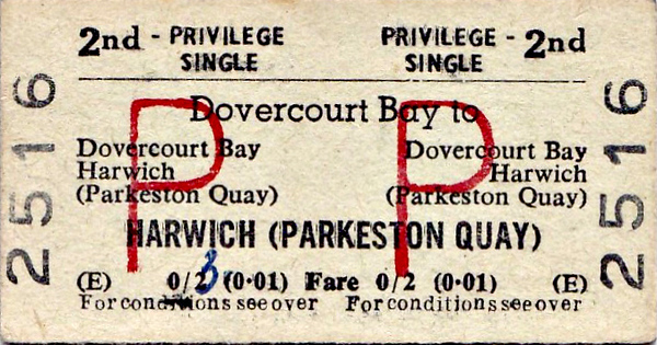 BR EDMONDSON TICKET - DOVERCOURT BAY to HARWICH PARKESTON QUAY - Second Class Privilege Return - fare 2d, changed by hand to 3d, or 1p in that new fangled money - dated August 13th, 1970.