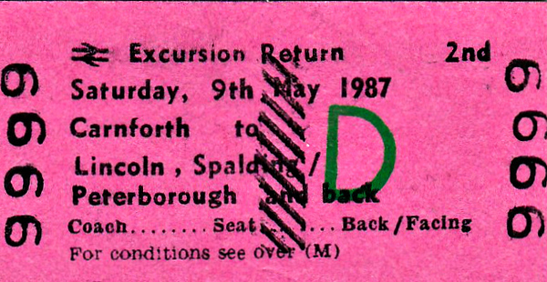 BR EDMONDSON TICKET - CARNFORTH to LINCOLN,SPALDING and PETERBOROUGH  - Second Class BR Day Excursion taking in Spalding Flower Festival.  It was planned to run to Peterborough because, by this date, there were no storage sidings at Spalding. This is a specimen ticket and this exact train may not have run. Certainly, on this date, May 9th, 1987, 47528 headed an excursion along this route from Carlisle.