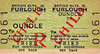 BRITISH RAILWAYS TICKET - OUNDLE - Third Class Furlough Monthly Return to Blank Destination. This ticket is interesting in several ways: it predates 1956, the end of third class on BR. When did Oundle, an ex-LNWR station, pass to BR(E)? It was always a Midland station as far as I can remember. A 'Child Furlough' ticket is of interest too - not too many kids in the Armed Forces! But the town does have a large public school and I suspect that these tickets may have been associated with them. Passenger services were withdrawn in July 1963 and the line closed to freight in November 1972, at which time the school specials also ceased to operate. I moved to live in Oundle in 1970 and remember being shocked at seeing a Class 31 and a half dozen coaches sitting in the station! The remains of the line are now the Nene Valley Railway.