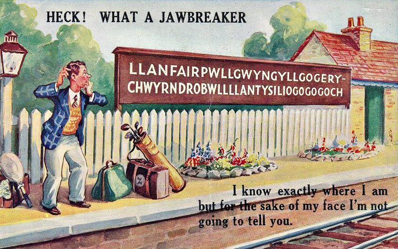 LLANFAIR PG - humourous card - posted July 31st, 1956.