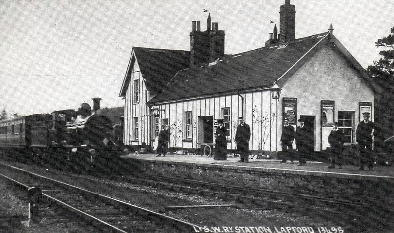 LAPFORD - On the LSWR Barnstaple - Exeter line, still open, and looking much the same today as it did it in 1913, when this an Adams 4-4-0 was pulling in with a train.